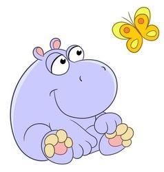 Lovely cartoon hippopotamus and butterfly vector
