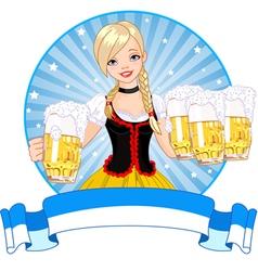 Oktoberfest girl label vector image vector image