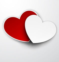 Paper red and white hearts vector image vector image