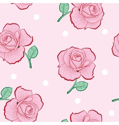 Pink roses and white dots on pink seamless vector