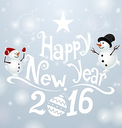 Postcard Happy New Year with snowmans vector image vector image