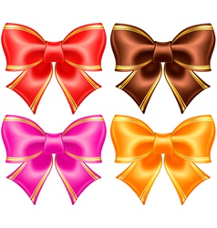Silk bows in warm colors with golden edging vector image vector image