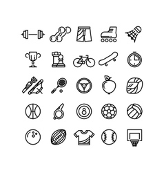 Sports outline symbols equipment thin line vector image