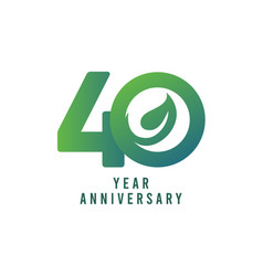40 years anniversary leaf template design vector