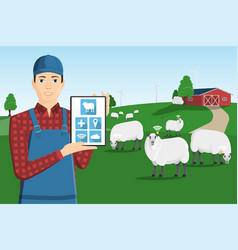 A farmer with a computer tablet vector
