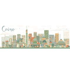 Abstract cairo skyline with color buildings vector