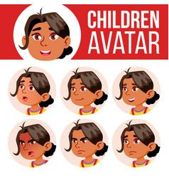 arab muslim girl avatar set kid vector image