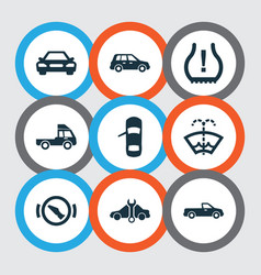 Automobile icons set with crossover stop truck vector
