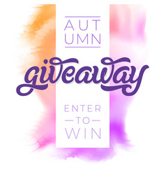 Autumn giveaway banner for contests in social vector