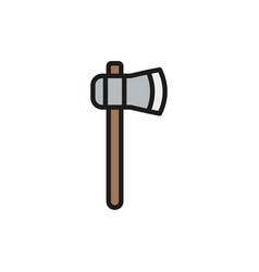 Ax axe hatchet flat color line icon isolated vector