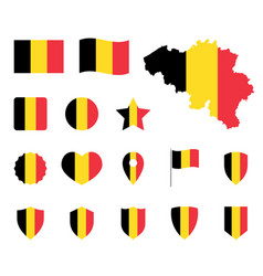 belgium flag icons set belgian flag symbol vector image