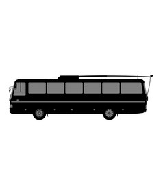 Black and white image of the trolleybus vector