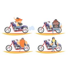 brutal biker character riding motorbike set vector image