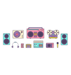 bundle retro analog music players reel-to-reel vector image