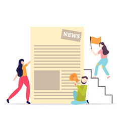 business people reading daily press news together vector image