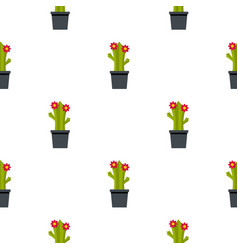 Cactus with flowers pattern seamless vector