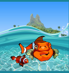 Cartoon funny a clown fishes under water vector