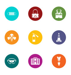 chemical protection icons set flat style vector image