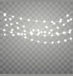 Christmas lights xmas glowing garland holiday vector