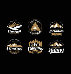 climbing camping logo or emblem hiking label set vector image