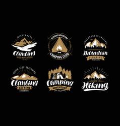 Climbing camping logo or emblem hiking label set vector