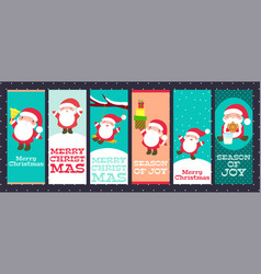 collection of christmas banners with cute santa vector image