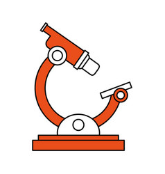 Color silhouette image cartoon orange microscope vector