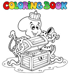 Coloring book with octopus vector