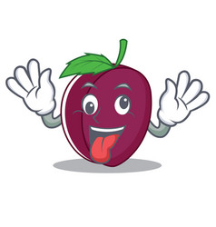 Crazy plum mascot cartoon style vector