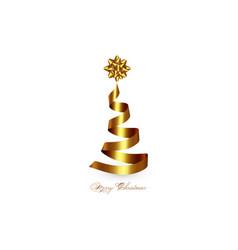 creative xmas tree made 3d gold ribbon isolated vector image