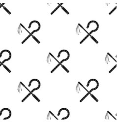 Crook and flail icon in black style isolated on vector