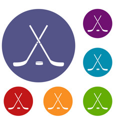 crossed hockey sticks and puck icons set vector image