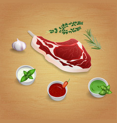 Crude organic lamb cutlet on the bone with herbs vector