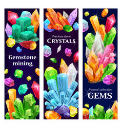 Crystal gems gemstones cartoon banners vector