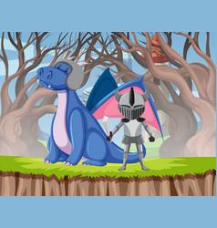 dragon and knight scene vector image