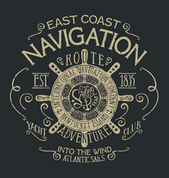 East coast pacific sailing navigation vector