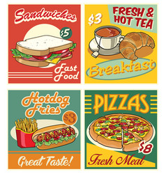 Fast food design in retro vector