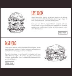 fast food framed of big hamburgers vector image