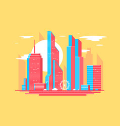 flat city landscape with street urban park tower vector image