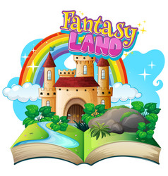 font design for word fantasy land with castle vector image