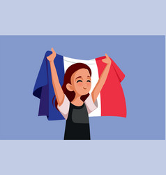French woman holding national flag cartoon vector