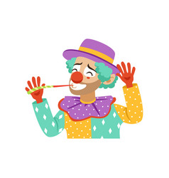 Funny circus clown with party horn avatar of vector