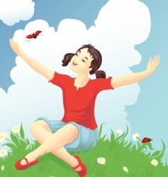 Girl with a ladybug vector