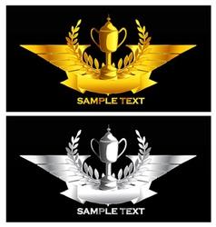 Gold and silver vintage emblem vector