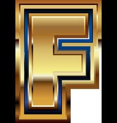 Golden font letter f vector