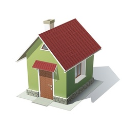 Green house with red roof vector