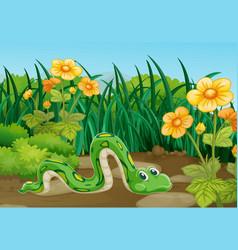 Green snake crawling in garden vector