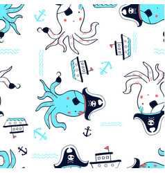 hand drawing pirate octopus seamless pattern vector image