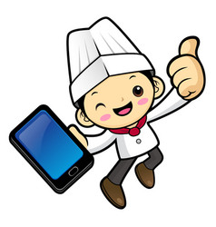 happy cook character is holding a smartphone and vector image