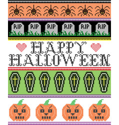 happy halloween with spider coffin grave pattern vector image